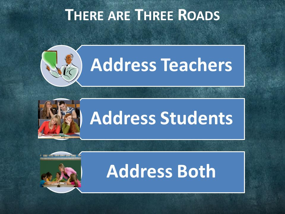 T HERE ARE T HREE R OADS Address Teachers Address Students Address Both