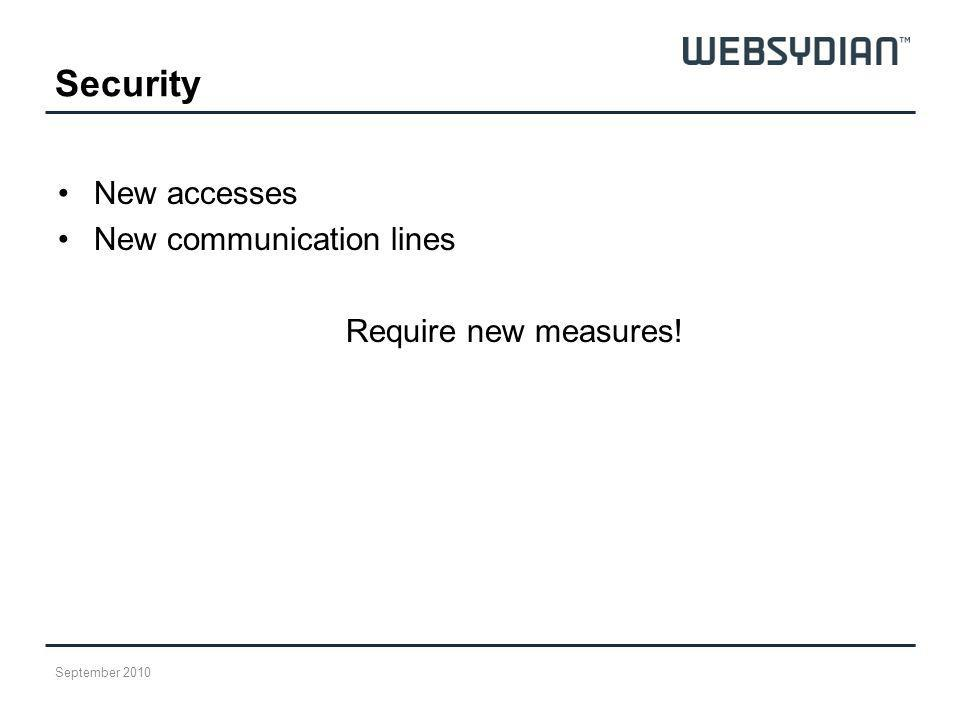 Security New accesses New communication lines Require new measures! September 2010