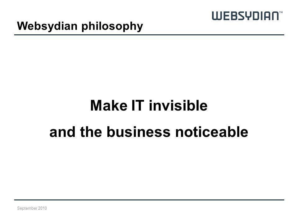 Websydian philosophy Make IT invisible and the business noticeable September 2010