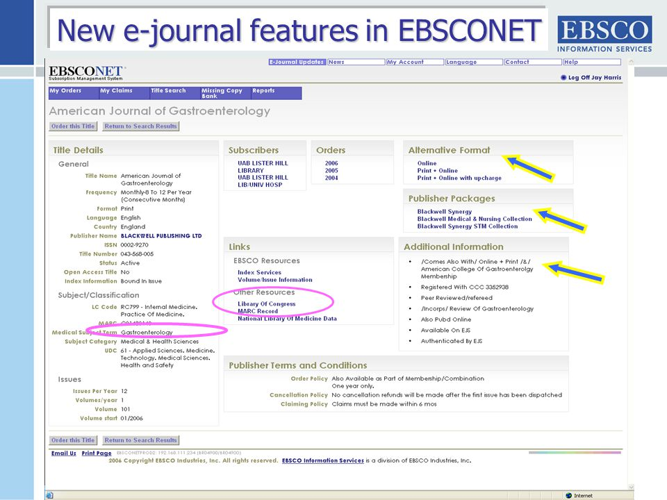 New e-journal features in EBSCONET