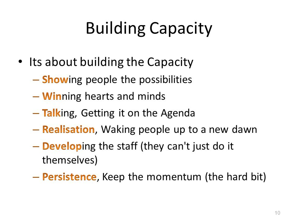 Building Capacity 10