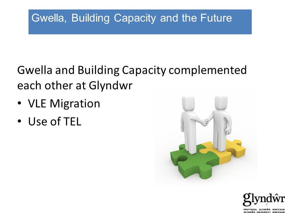 Gwella and Building Capacity complemented each other at Glyndwr VLE Migration Use of TEL Gwella, Building Capacity and the Future 2