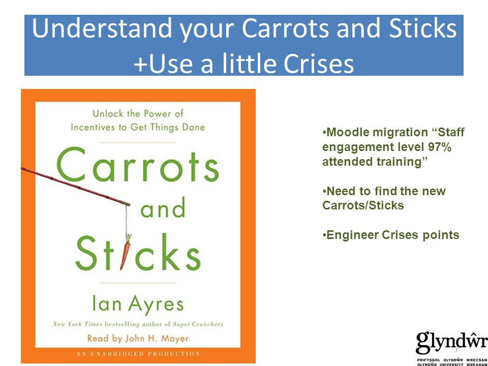 Understand your Carrots and Sticks +Use a little Crises Moodle migration Staff engagement level 97% attended training Need to find the new Carrots/Sticks Engineer Crises points 7