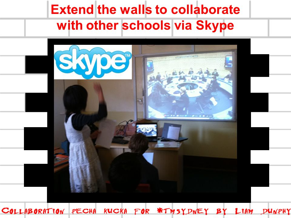 Extend the walls to collaborate with other schools via Skype