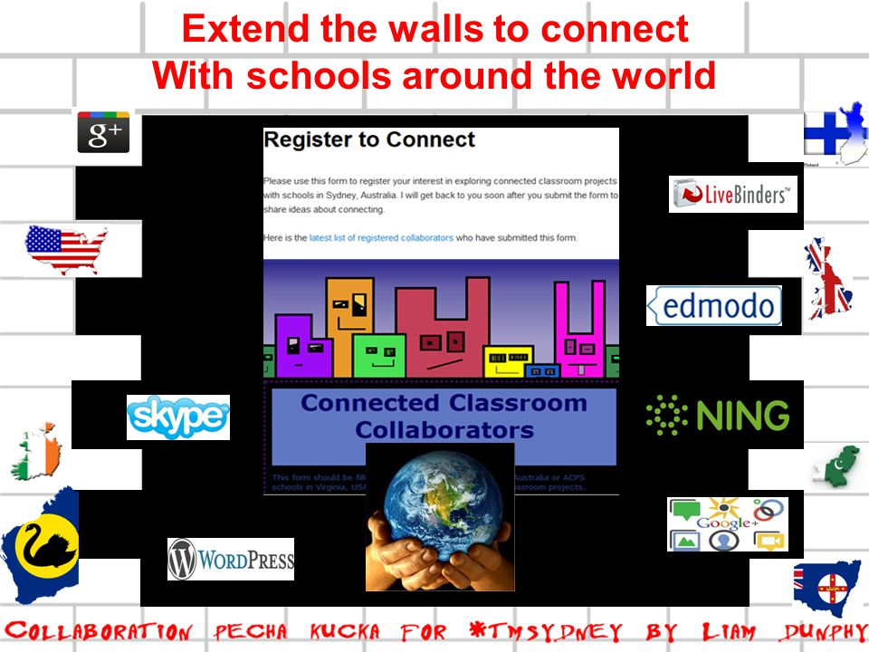 Extend the walls to connect With schools around the world