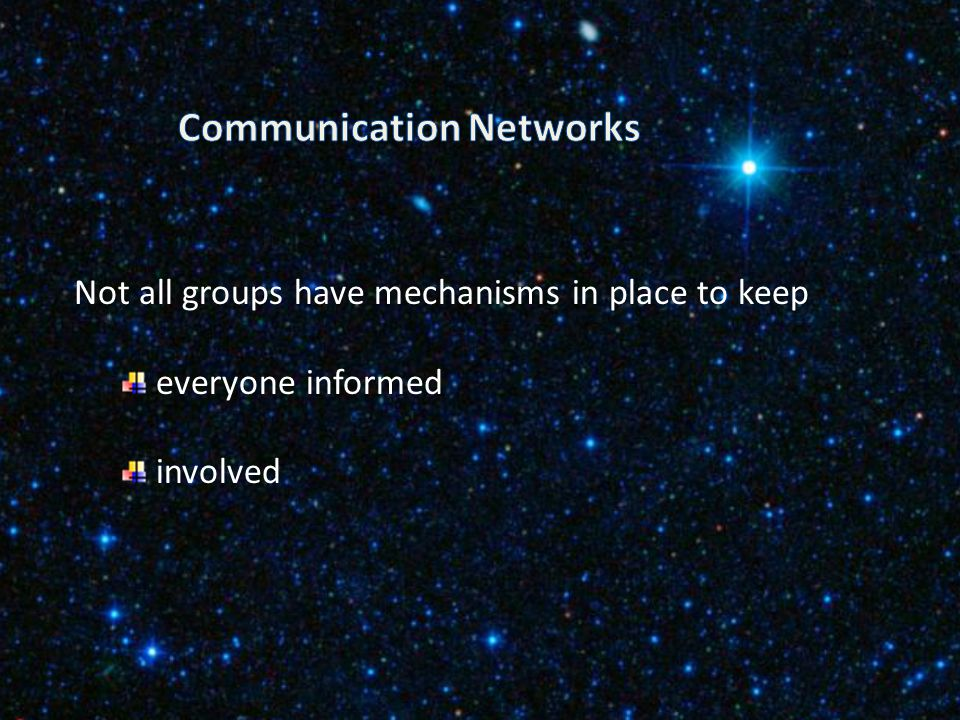 Networks lighten the load help project leaders to keep the commitment to raise visibility of programmes ensure cooperation Have your communication lin