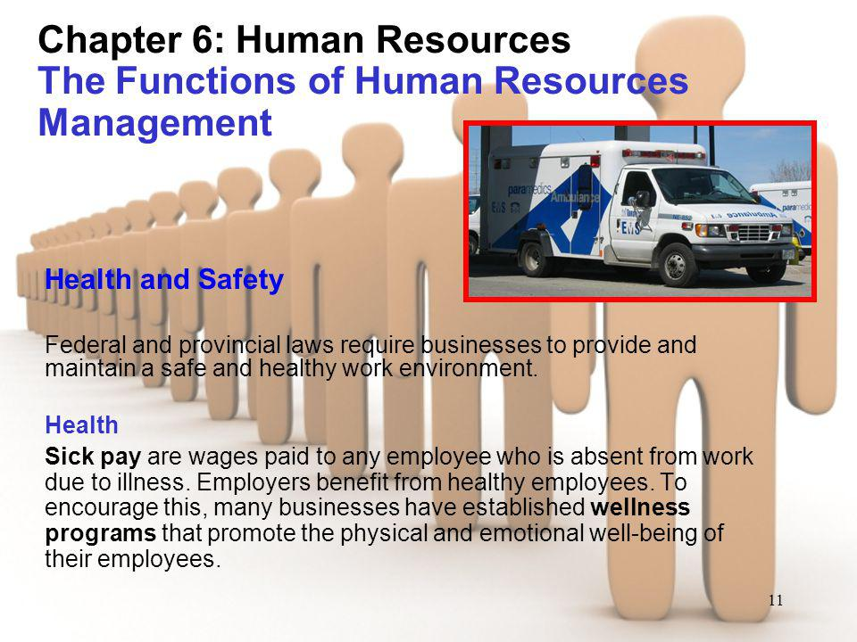 11 Chapter 6: Human Resources The Functions of Human Resources Management Health and Safety Federal and provincial laws require businesses to provide
