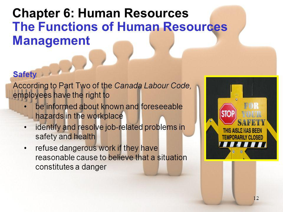 12 Chapter 6: Human Resources The Functions of Human Resources Management Safety According to Part Two of the Canada Labour Code, employees have the r