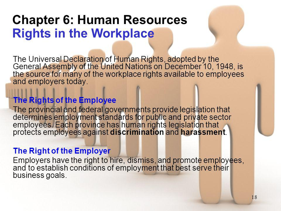18 Chapter 6: Human Resources Rights in the Workplace The Universal Declaration of Human Rights, adopted by the General Assembly of the United Nations