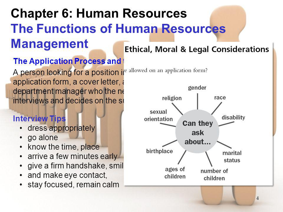4 Chapter 6: Human Resources The Functions of Human Resources Management The Application Process and the Interview A person looking for a position in