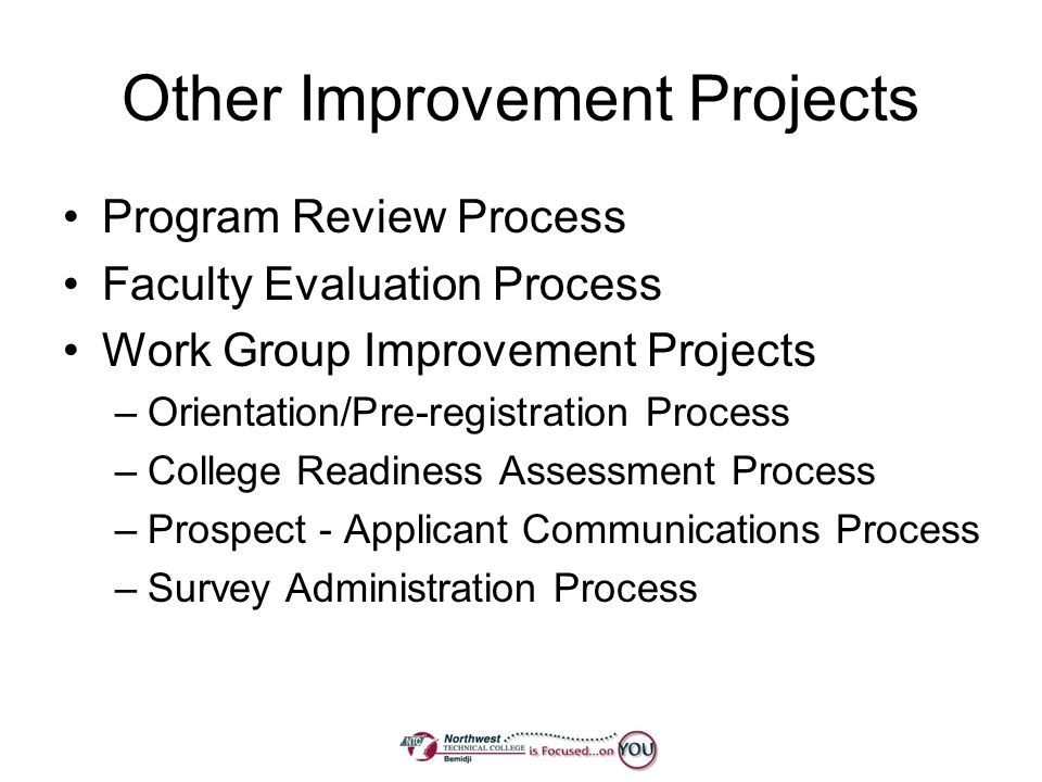 Other Improvement Projects Program Review Process Faculty Evaluation Process Work Group Improvement Projects –Orientation/Pre-registration Process –Co
