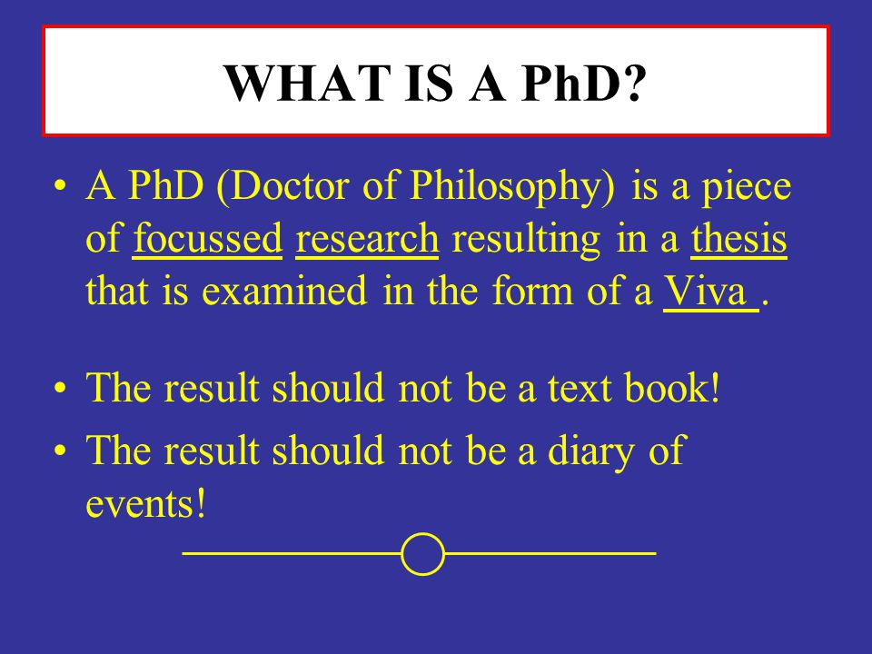 WHAT IS A PhD? A PhD (Doctor of Philosophy) is a piece of focussed research resulting in a thesis that is examined in the form of a Viva. The result s