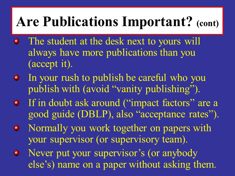 Are Publications Important.