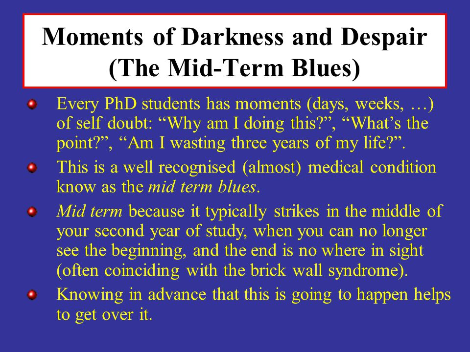 Moments of Darkness and Despair (The Mid-Term Blues) Every PhD students has moments (days, weeks, …) of self doubt: Why am I doing this?, Whats the po