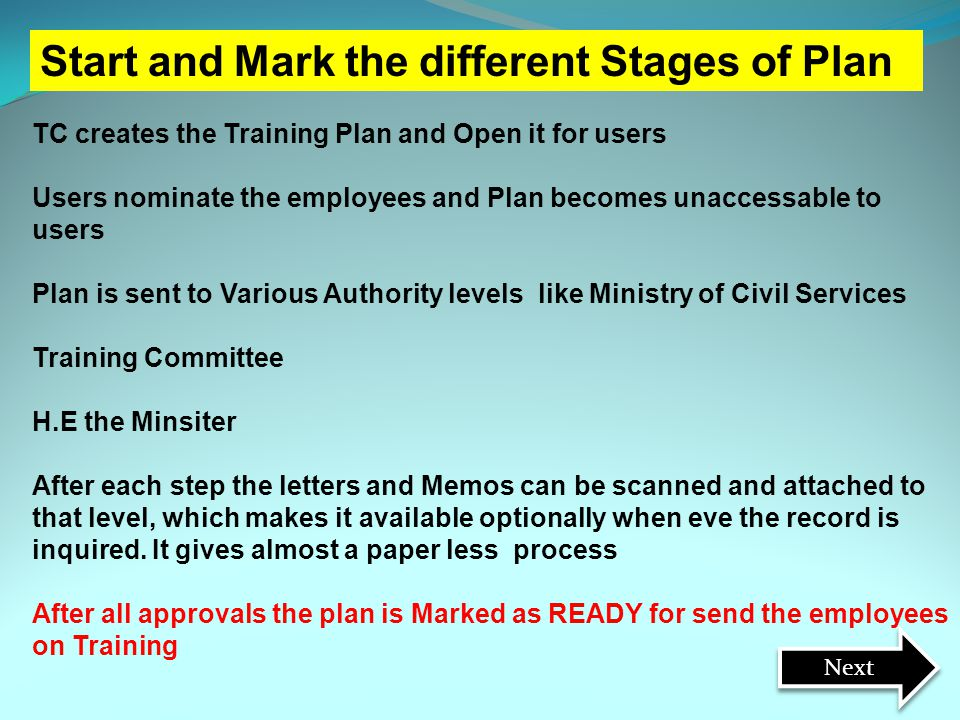 Start and Mark the different Stages of Plan TC creates the Training Plan and Open it for users Users nominate the employees and Plan becomes unaccessa