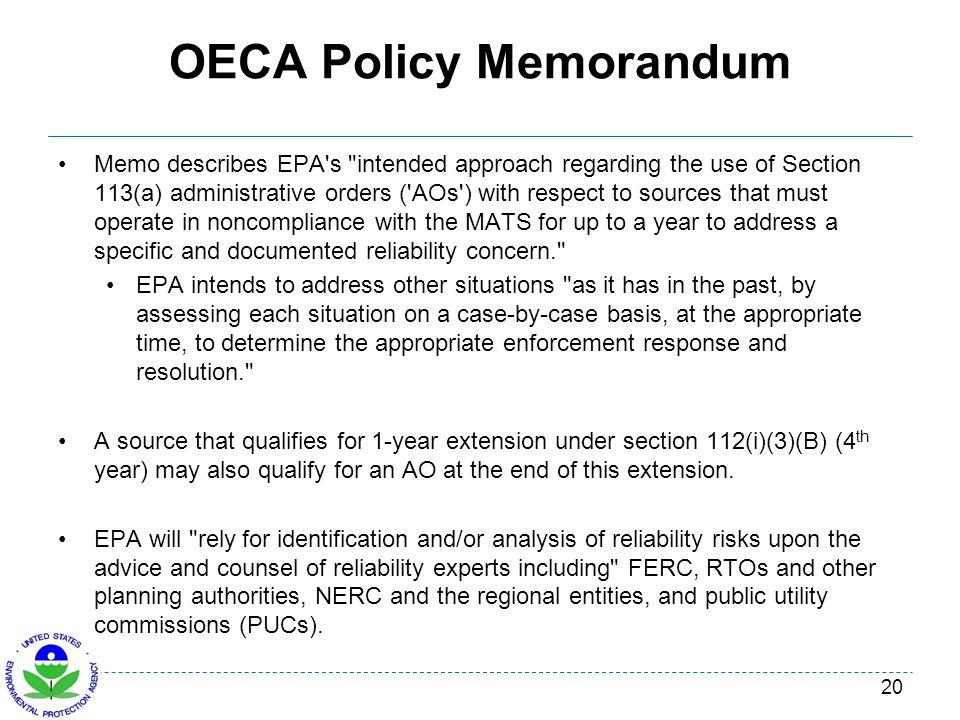 OECA Policy Memorandum Memo describes EPA's