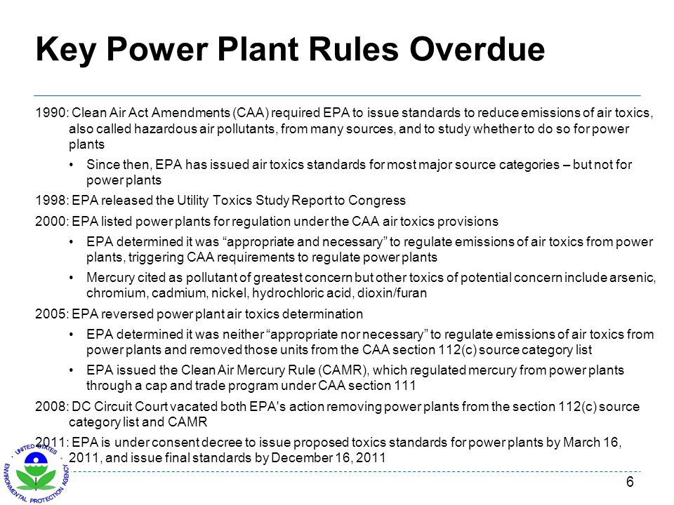 Key Power Plant Rules Overdue 1990: Clean Air Act Amendments (CAA) required EPA to issue standards to reduce emissions of air toxics, also called haza