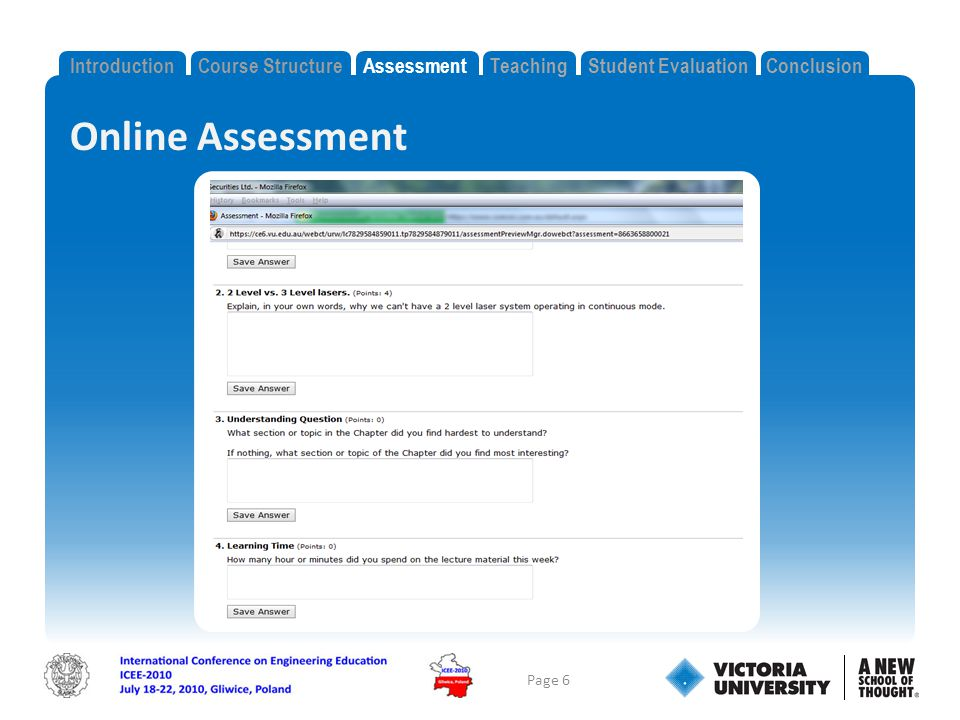 Online Assessment Page 6 IntroductionCourse StructureAssessmentTeachingStudent EvaluationConclusion