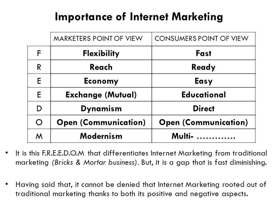 Importance of Internet Marketing F R E E D O M MARKETERS POINT OF VIEWCONSUMERS POINT OF VIEW FlexibilityFast ReachReady EconomyEasy Exchange (Mutual)Educational DynamismDirect Open (Communication) ModernismMulti- ………….