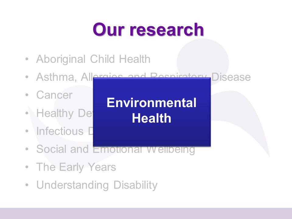 Our research Aboriginal Child Health Asthma, Allergies and Respiratory Disease Cancer Healthy Development Infectious Disease Social and Emotional Wellbeing The Early Years Understanding Disability Environmental Health