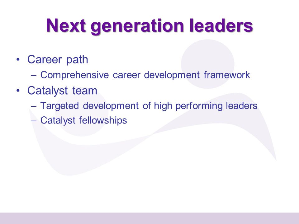 Career path –Comprehensive career development framework Catalyst team –Targeted development of high performing leaders –Catalyst fellowships Next generation leaders