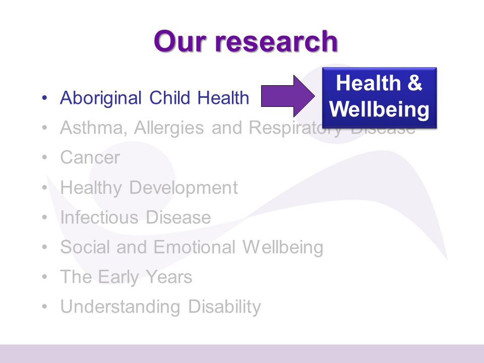 Our research Aboriginal Child Health Asthma, Allergies and Respiratory Disease Cancer Healthy Development Infectious Disease Social and Emotional Wellbeing The Early Years Understanding Disability Health & Wellbeing