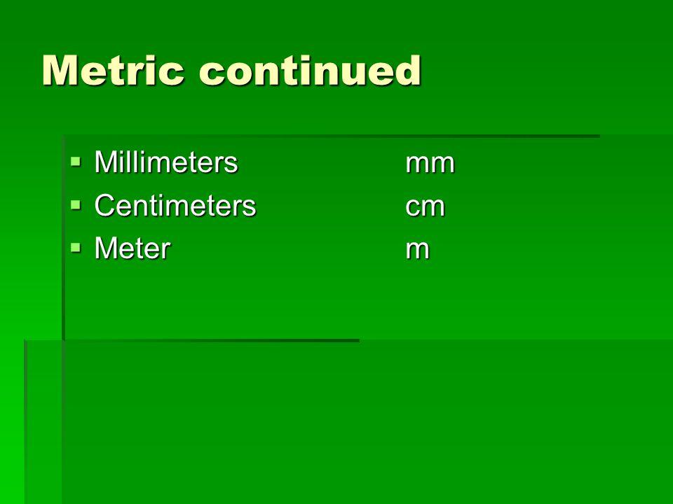 Metric continued Millimetersmm Millimetersmm Centimeterscm Centimeterscm Meterm Meterm