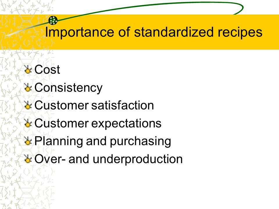 Importance of standardized recipes Group Activity –In your groups brainstorm reasons you think standardized recipes are important, and why. –Have one