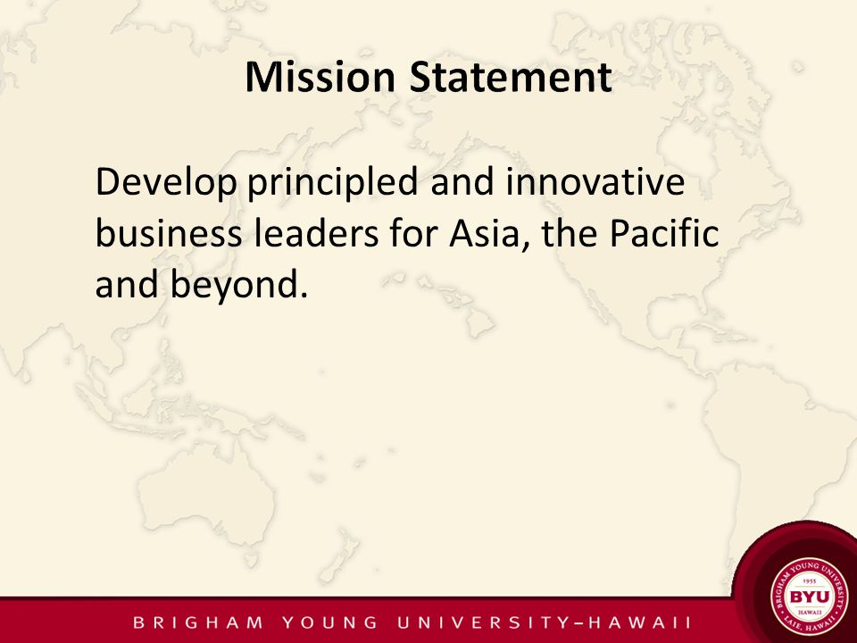 Develop principled and innovative business leaders for Asia, the Pacific and beyond.
