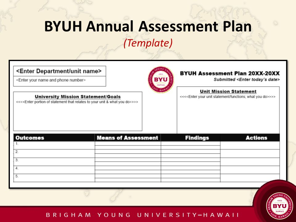 BYUH Annual Assessment Plan (Template)