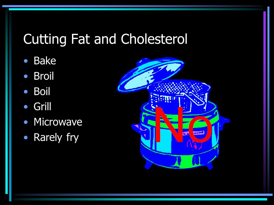 Cutting Fat and Cholesterol Bake Broil Boil Grill Microwave Rarely fry