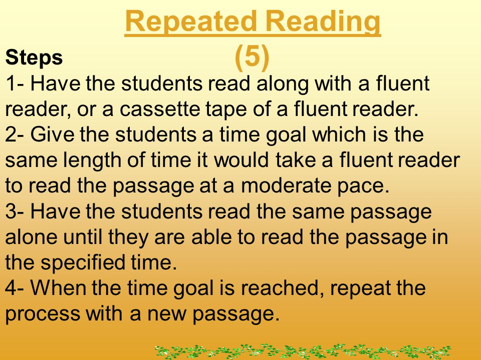 Repeated Reading (5) What is repeated reading.