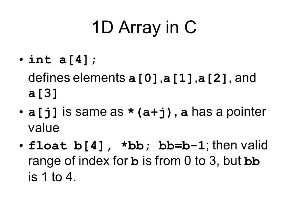 1D Array Argument Passing void routine(float bb[], int n) // bb[1..n] (range is 1 to n) We can use as float a[4]; routine(a-1, 4);