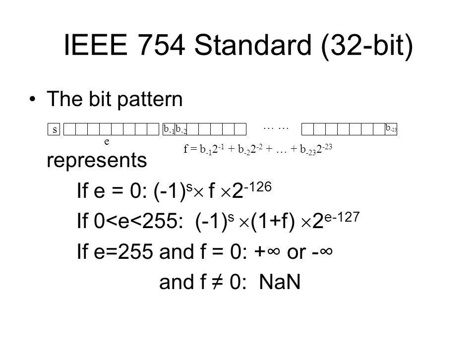 IEEE 754 Standard (32-bit) The bit pattern represents If e = 0: (-1) s f 2 -126 If 0<e<255: (-1) s (1+f) 2 e-127 If e=255 and f = 0: + or - and f 0: N