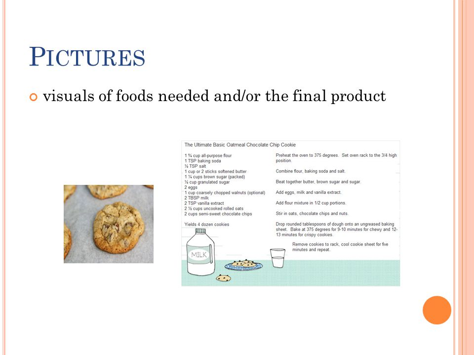 P ICTURES visuals of foods needed and/or the final product
