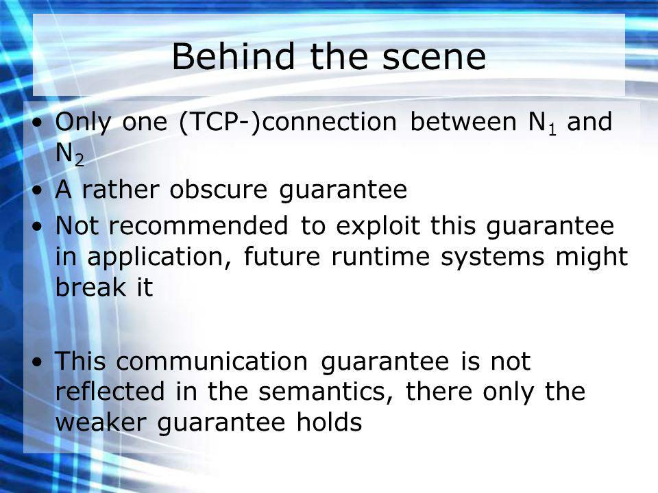 Behind the scene Only one (TCP-)connection between N 1 and N 2 A rather obscure guarantee Not recommended to exploit this guarantee in application, future runtime systems might break it This communication guarantee is not reflected in the semantics, there only the weaker guarantee holds