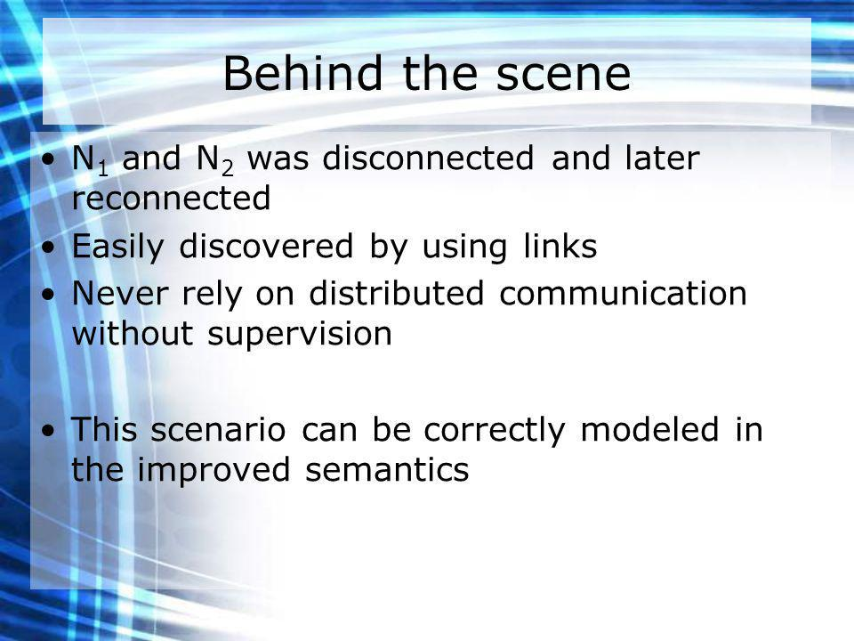 Behind the scene N 1 and N 2 was disconnected and later reconnected Easily discovered by using links Never rely on distributed communication without supervision This scenario can be correctly modeled in the improved semantics