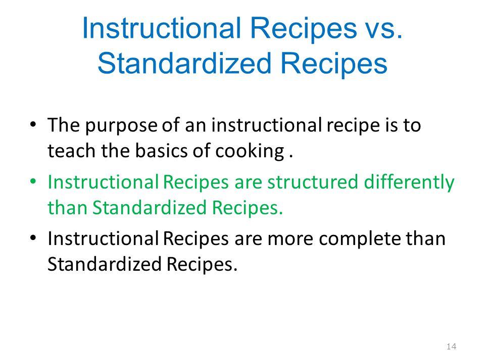 Instructional Recipes vs.