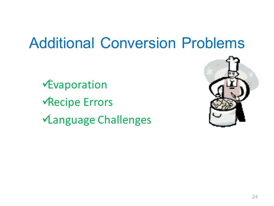 Additional Conversion Problems Evaporation Recipe Errors Language Challenges 24