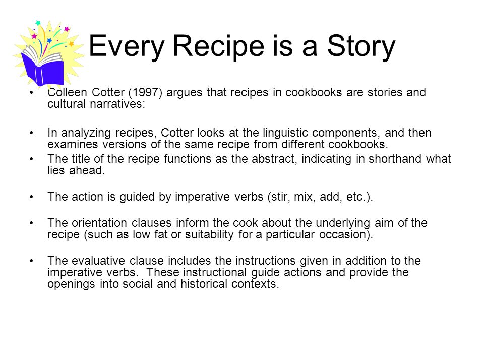 Deconstructing a Recipe TITLE is the abstract or shorthand for what lies ahead ACTION is guided by imperative verbs (stir, mix, add, etc.).