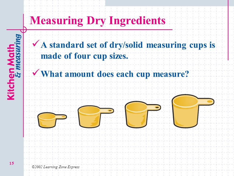 ©2002 Learning Zone Express 15 Measuring Dry Ingredients A standard set of dry/solid measuring cups is made of four cup sizes. What amount does each c