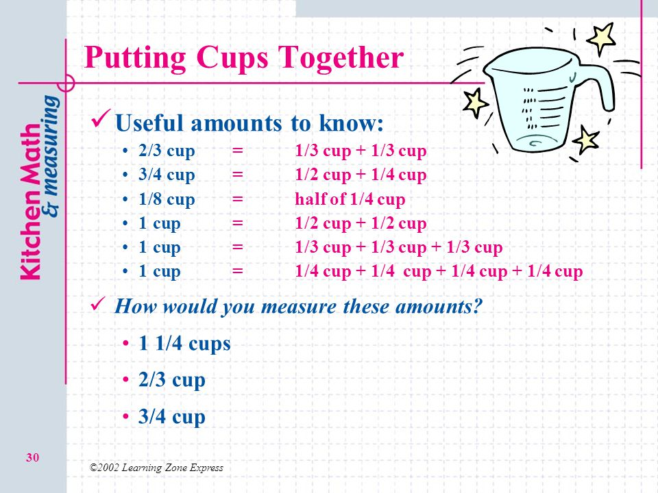 ©2002 Learning Zone Express 30 Putting Cups Together Useful amounts to know: 2/3 cup=1/3 cup + 1/3 cup 3/4 cup=1/2 cup + 1/4 cup 1/8 cup=half of 1/4 c