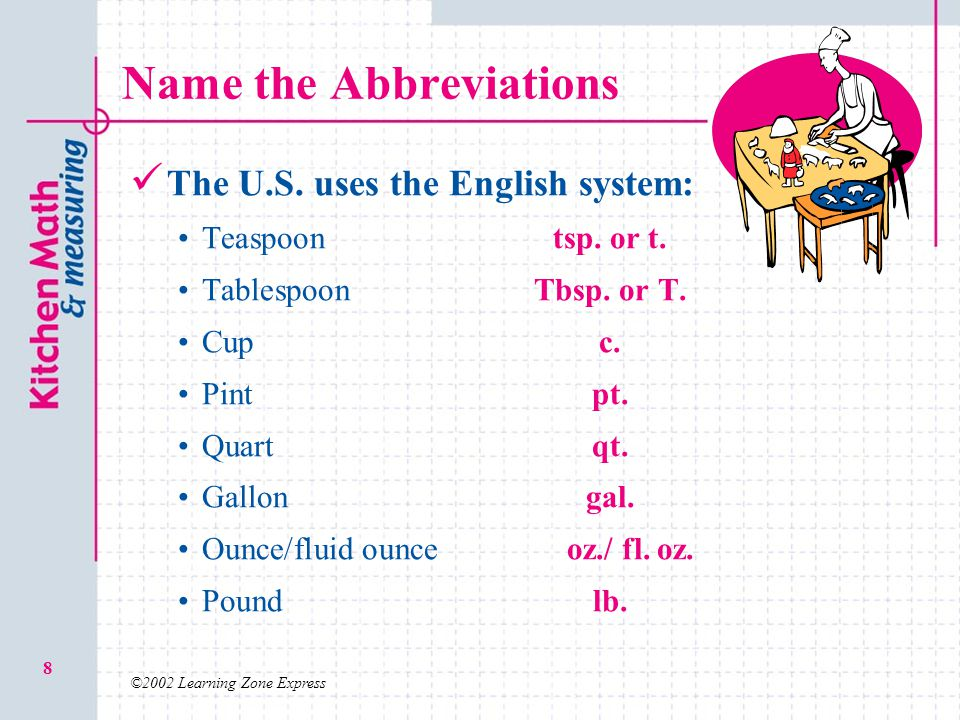 ©2002 Learning Zone Express 8 Name the Abbreviations The U.S. uses the English system: Teaspoontsp. or t. TablespoonTbsp. or T. Cupc. Pintpt. Quartqt.