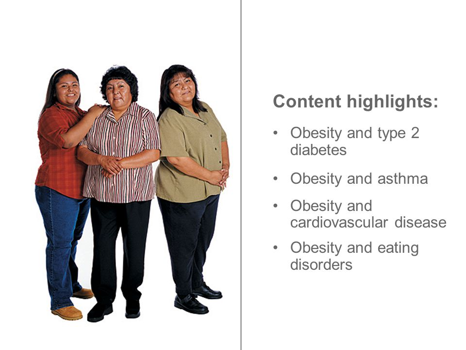 Content highlights: Obesity and type 2 diabetes Obesity and asthma Obesity and cardiovascular disease Obesity and eating disorders