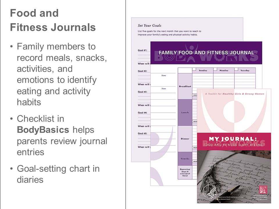 Food and Fitness Journals Family members to record meals, snacks, activities, and emotions to identify eating and activity habits Checklist in BodyBasics helps parents review journal entries Goal-setting chart in diaries