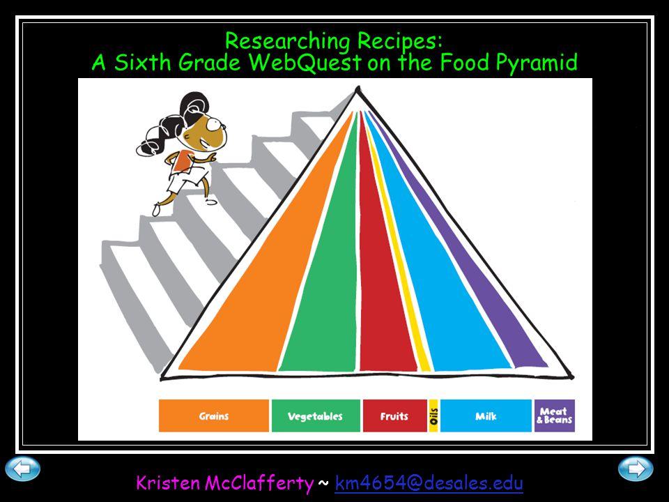 Researching Recipes: A Sixth Grade WebQuest on the Food Pyramid Kristen McClafferty ~ km4654@desales.edukm4654@desales.edu
