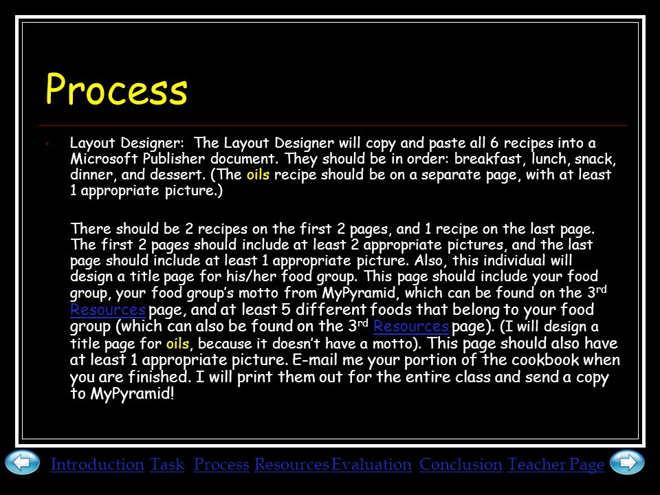 Process Layout Designer: The Layout Designer will copy and paste all 6 recipes into a Microsoft Publisher document.