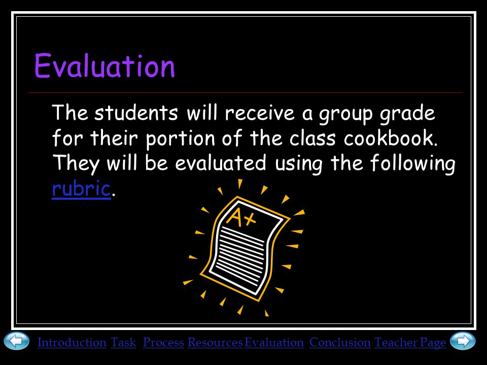 Evaluation T he students will receive a group grade for their portion of the class cookbook.