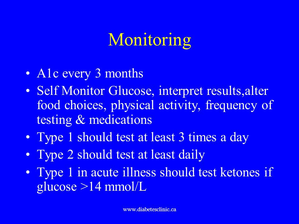 www.diabetesclinic.ca Monitoring A1c every 3 months Self Monitor Glucose, interpret results,alter food choices, physical activity, frequency of testin