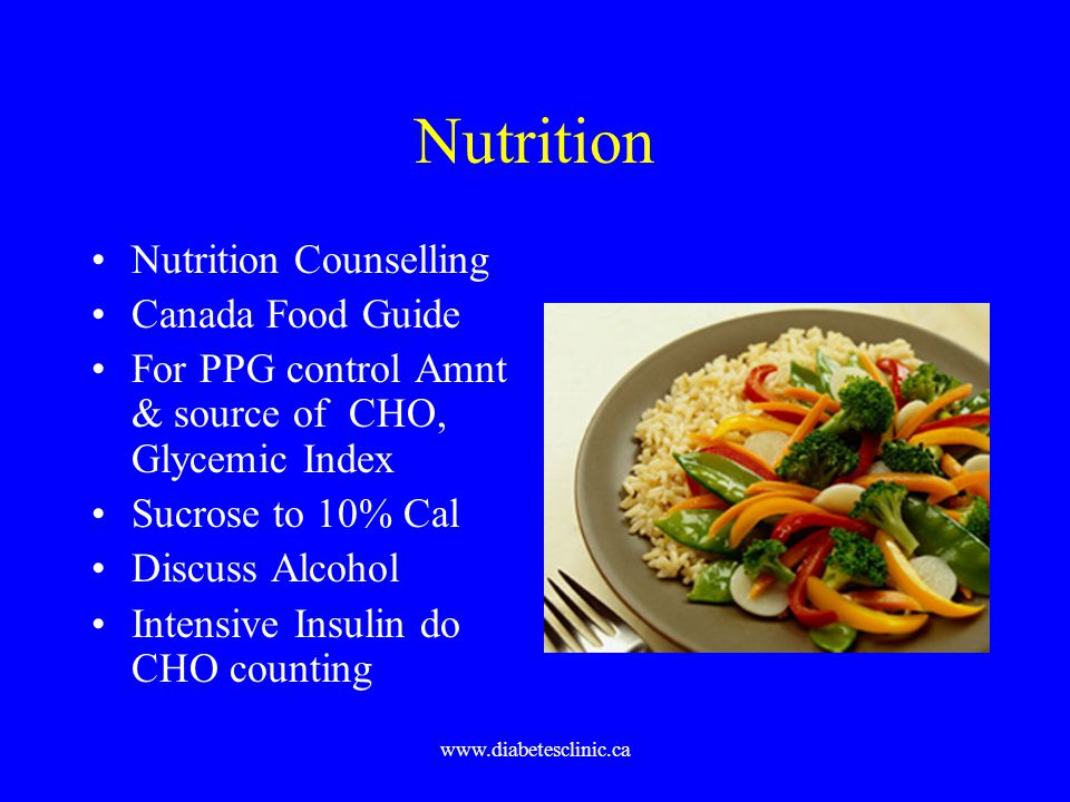 www.diabetesclinic.ca Nutrition Nutrition Counselling Canada Food Guide For PPG control Amnt & source of CHO, Glycemic Index Sucrose to 10% Cal Discus